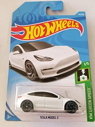 Hot Wheels 2019 HW Green Speed Tesla Model 3 174/250, White