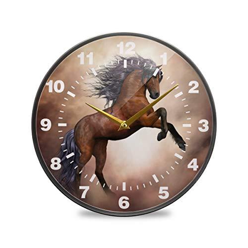 ISAOA Wanduhr, 24,1 cm, nicht tickend, batteriebetrieben, braunes Pferde-Dekor für Schlafzimmer, Esszimmer, Wohnzimmer, Schule, Büro