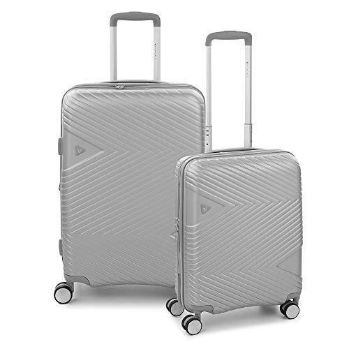 RONCATO Arrow - Juego de 2 maletas rígidas ampliables (medio + cabina) 4 ruedas Tsa Silver