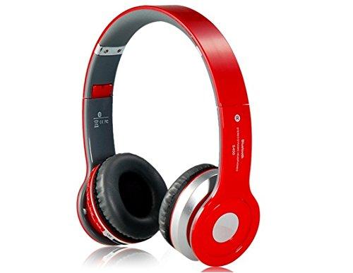 S450plegable auriculares de diadema estéreo inalámbricos Bluetooth compatible con MP3, FM y TF lector de tarjetas (rojo)