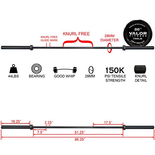 Valor Fitness OB-86-750B Men's Olympic Bar with Whip Action – Ideal for Cross Training, Black, One Size Fits All