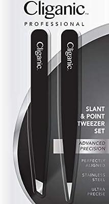 Cliganic Eyebrow Tweezers Set: Slant & Point Precision Tip | Stainless Steel, for Men & Women | Cliganic 90 Days Warranty by Cliganic