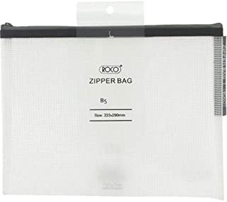 Roco RQ-FB8067BLK B5 Topload Opening Document Pouch, Clear-Black Accent