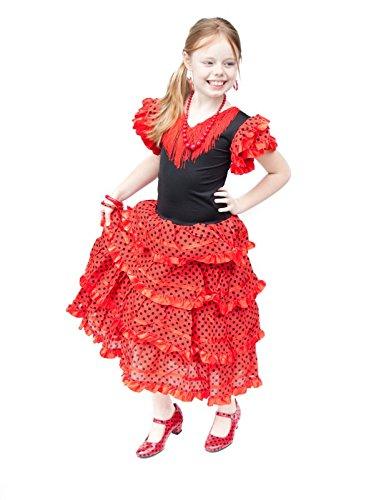 La Senorita Spanische Flamenco Kleid/Kostüm - für Mädchen/Kinder - Rot/Schwarz (Größe 128-134 - Länge 85 cm- 7-8 Jahr, Mehrfarbig)