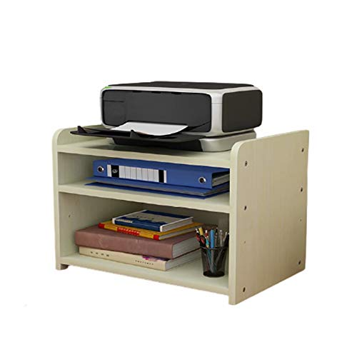 Wooden 3-Layer MDF Printer Rack, Bookshelf Bookcase, Expandable Desktop Storage Cabinet, Display Rack, Office Supplies Desk Storage Box(43 * 35 * 30cm)