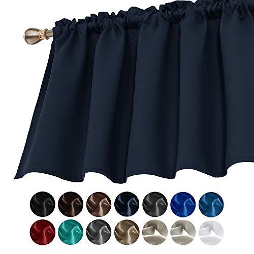 Deconovo Valances for Window Kitchen Valance Navy Blackout Valance Rod Pocket Valance Curtain 52x24 Inch Navy Blue 1 Panel
