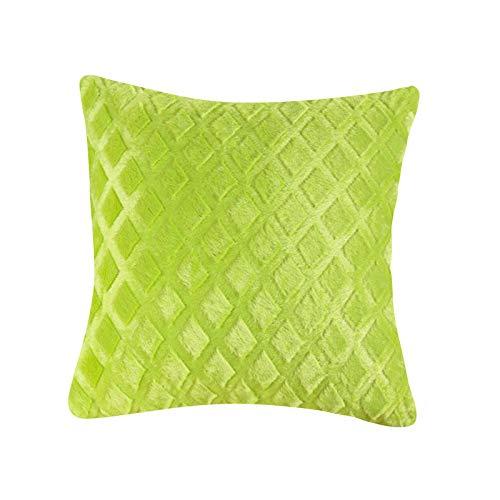 Muium(TM) Fundas de cojín de felpa monocromática, cojín decorativo, funda de cojín suave de felpa, con estampado de diamantes, cuadrada, con cremallera oculta para sofá, decoración de cama (B)