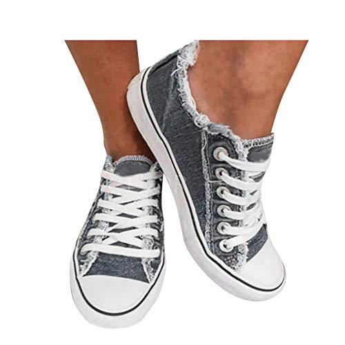 Dorical Damen Sneaker Low Übergrößen Schnürschuhe Walk Sports Freizeitschuhe Klassische Universität Canvas Slip-On-Turnschuhe Student Casual Sneakers Outdoor Sportschuhe
