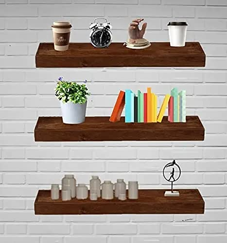 VM DECOR Solid sheesham Wood Floating Wall Shelf Mounted Wall Decor for Kitchen Storage Bedroom Set of 3 20 inches Dark Brown (Size Color Also costmisable) (20 inches)