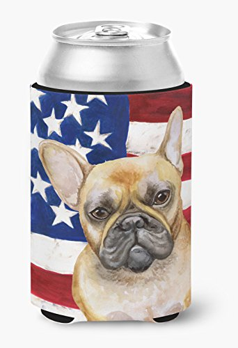Caroline's Treasures BB9688CC French Bulldog Patriotic Can or Bottle Hugger, Can Hugger, multicolor