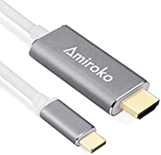USB C to HDMI Cable 6FT, Amiroko USB 3.1 Type C (Thunderbolt 3 Compatible) to HDMI Adapter 4K Cable for MacBook, MacBook Pro, Dell XPS 13/15, Galaxy S8/Note 8 etc to HDTV, Monitor, Projector - Gray