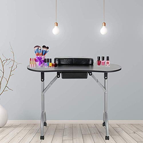 LEIBOU Professional 36''L Portable & Foldable Manicure Table Nail Technician Desk Workstation Manicure Table with Rolling Wheels,Drawer,Sponge,Free Carrying bag (Black)