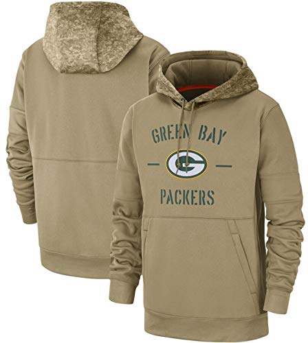 XYEQX New Era Herren Logo Langarm Hoodie Fan Jumpers, Packers Baseball Uniform American Football Team Pullover Hoodies Rugby Hooded-Lightkhaki-M(175-180)