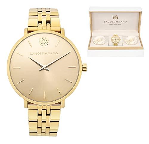 Damen Uhr Giulia Gold 36mm Gliederarmband Rosenbox langlebige Infinity Rosen Edelstahl Armbanduhr Frauen Geschenkset Schmuckset