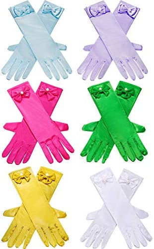 Zhanmai 6 Pairs Girls Satin Gloves Princess Dress Up Bows Gloves Long Formal Gloves for Party product image