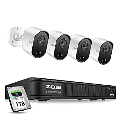ZOSI 1080p 8 Channel Security Camera System for Home, CCTV DVR with Hard Drive 1TB and 4 x 2MP Surveillance Bullet Camera Outdoor Indoor with PIR Motion Sensor,Day Night Vision,Remote Access