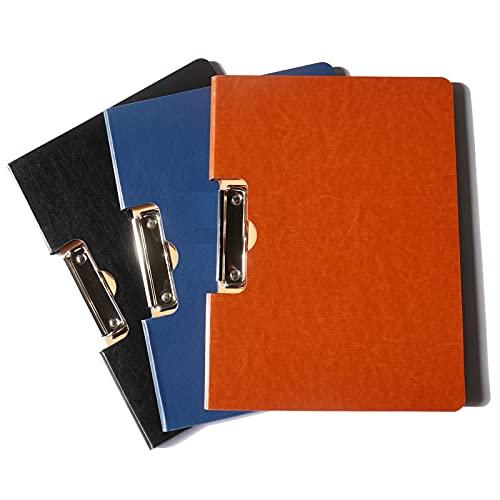 クリップボード a4 二つ折り バインダー フォルダー ファイルケース 革 クリップファイル レバーファイル ビジネス オフィス 大容量 オフィス用品 業務用 仕事用 事務用品 (ブラック)