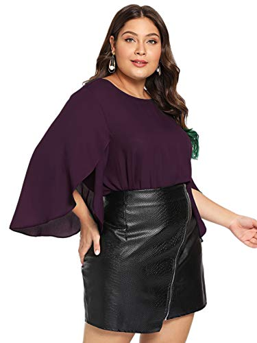 Romwe Women's Plus Size 3/4 Overlap Sleeve Boat Neck Chiffon Blouse Top Purple 2XL