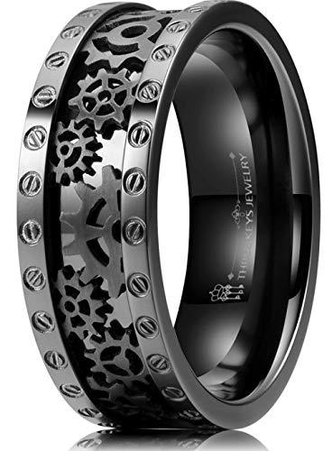 THREE KEYS JEWELRY 8mm Men Mens Black Gear Punk Pinky Polished Titanium Engagement Promise Qualo Pinky Eternity Wedding Ring Set Jewelry for Men Size 7