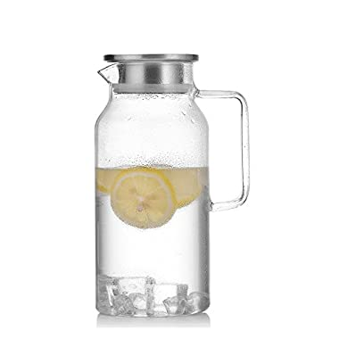 NORTHOME 58oz glass pitcher with lid,borosilicate hand blown jug for hot/cold water,juice or tea drinks carafe set (1, 1-Piece (1pitcher))