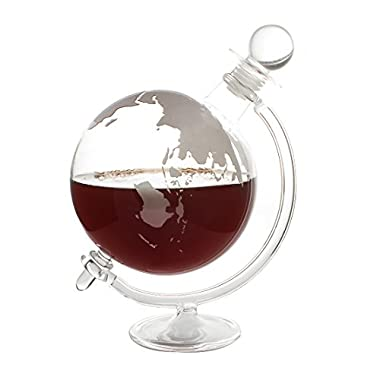 CKB Ltd Globe Decanter With Cradle Holder & Glass Cork Lid- Hand Blown - Ideal For Vodka Whiskey, Scotch, Rum Tequila & More - Holds Up To 1 Litre