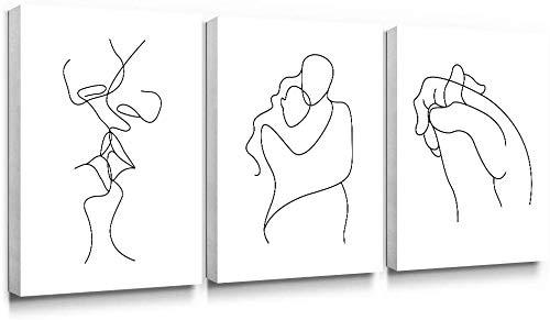 SUMGAR Schwarz und Weiß Leinwand Wandkunst Minimalistische Strichzeichnung Drucke Romantische Bilder Liebhaber Malerei Kunstwerk Wohnkultur Gerahmt für Schlafzimmer 30 x 40 cmx3 Panels
