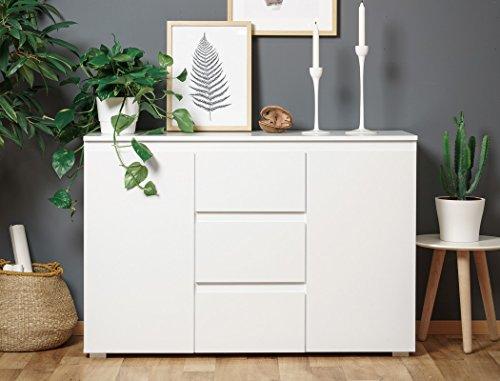 expendio Sideboard Imke 4 weiß 120x80x40 cm Anrichte Kommode Schrank Wohnzimmerschrank Wohnzimmer Esszimmer