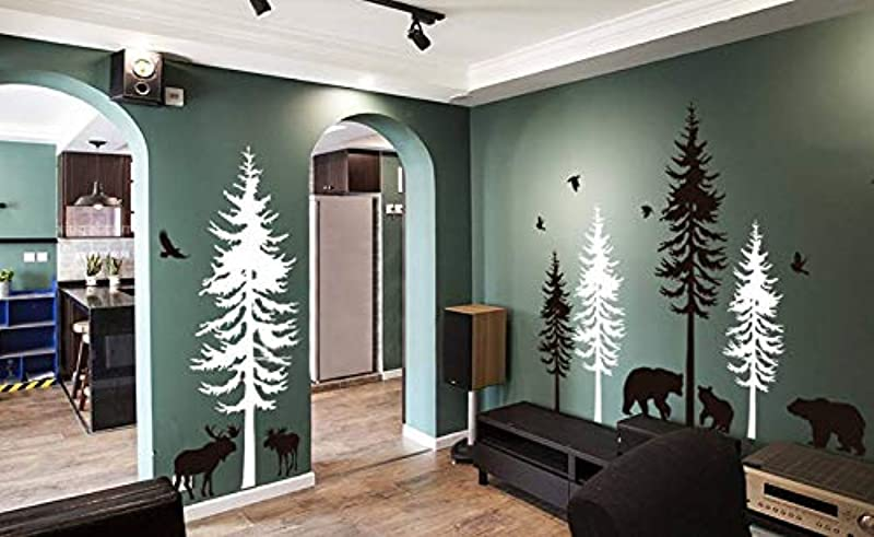 Pine Tree And Bird Wall Applique Baby Room Vinyl Sticker Nursery Wall Art Natural Decoration Woodland Forest Wall Sticker 149cmx51cm