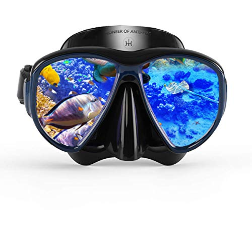 HH HHAO SPORT Snorkel Mask Large Vision Range, Anti-Fog Snorkel Dive Mask Scuba Impact Resistant Tempered Glass Anti Leak Food Grade Silicone Free Diving Goggles for Women and Men