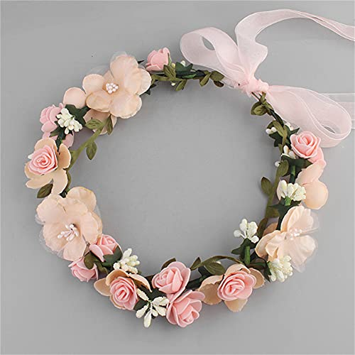 Wandskllss 16 decoraciones navideñas para la temporada de la escuela, boda, mujer, flor, corona para dama de honor, flores de novia, accesorios para el pelo, color rosa, 1 paquete