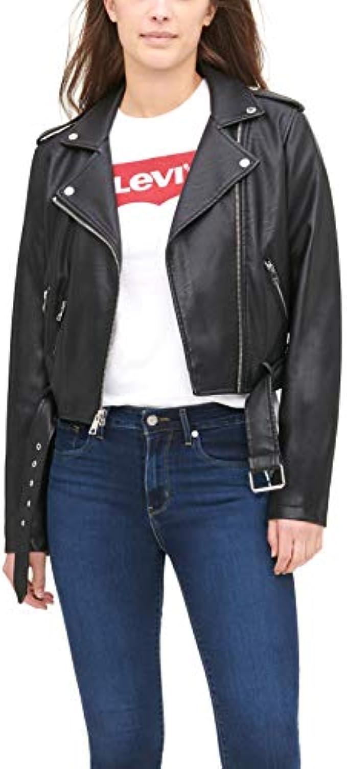 ג'קט דמוי עור Levi's Women's Faux Leather Belted Motorcycle Jacket