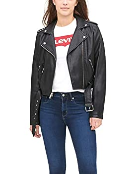Levi s Women s Faux Leather Belted Motorcycle Jacket  Standard and Plus Sizes  black Medium