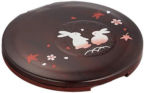 中谷兄弟商会 山中漆器 丸コンパクトミラー (レンズ付) 木目 福うさぎ33-0115