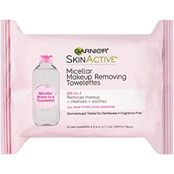 Makeup Remover Micellar Cleansing Wipes Gentle for all Skin Types by Garnier SkinActive 25 Count