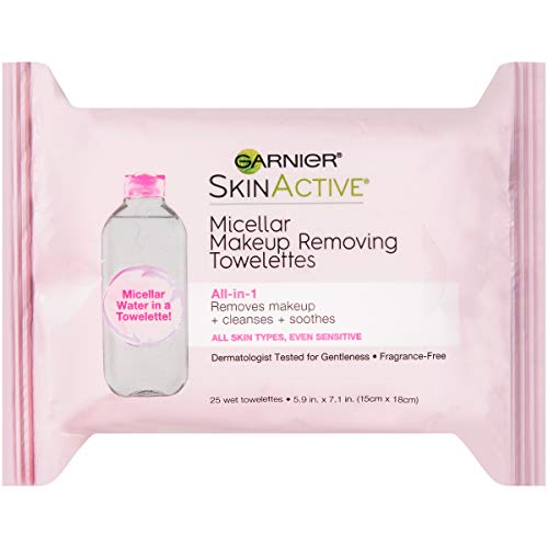 Makeup Remover Micellar Cleansing Wipes, Gentle for all Skin Types by Garnier SkinActive, 25 Count