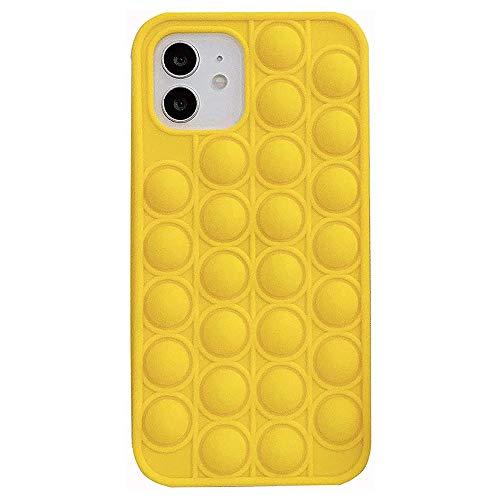 OEMINI Pop It Fidget Phone Case, Push Pop Bubble Protecive Case for iPhone 12 Pro Mini 11 XS MAX XR 7 8 Plus (Yellow,For iPhone11)