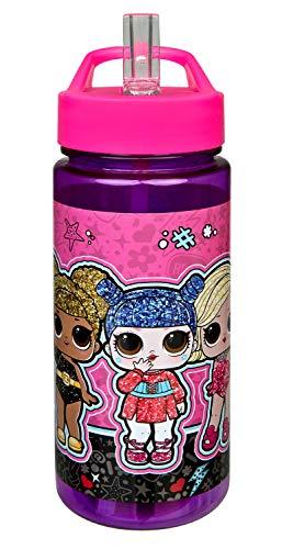 Scooli LOLO9913 Aero - Botella de plástico con pajita integrada y boquilla para beber (500 ml, sin BPA ni ftalatos)