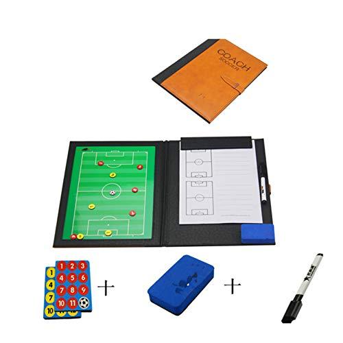 CHSEEA Fußball Taktikmappe mit Reißverschluss, Taktiktafel Fussball Coach-Board Coach Mappe für Professional Fußball Trainer mit Taktik-Notizblock, Magnete, Stifte, Radiergummi #1