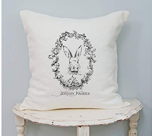 565pir - Copricuscino con Coniglietto Francese, in Stile Rustico, Stile Shabby Chic, Motivo Pasquale