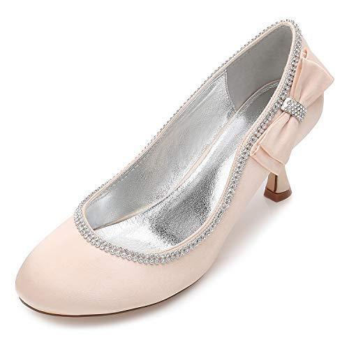 QZPM Marfil Zapatos De Novia Nupciales De Boda Peep Toe Rhinestones Satén Gatito Talón Corte Zapatos Bombas Sandalias,Champagne,36 EU