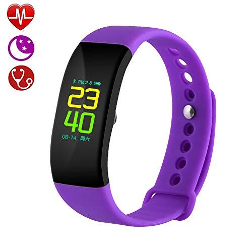 Fitness Activity Tracker, Smart Watch Met Hartslag-Bloeddrukmeter Slaapmonitor, Smart-Polsbandje Met Intelligente Stappenteller Voor Mannen, Vrouwen, Kinderen,Purple