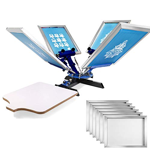 VEVOR Screen Printing 4 Color 1 Station Screen Printing Machine and 6 Pieces 20x24 Inch Aluminum Screen Frame with White 110 Count Mesh