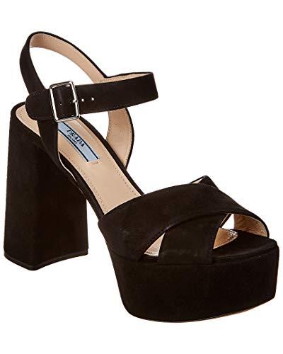 Prada Suede Platform Sandal, 37.5, Black