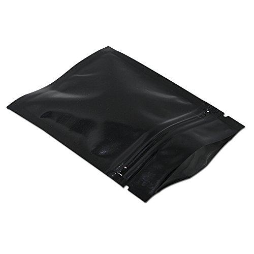 WACCOMT Pack 100 bolsas planas de Mylar de aluminio, sellables, impermeables, para alimentos, café, muestras de almacenamiento, olor neutro, con muesca (negro, 8,5 x 13 cm)