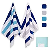 """100% Cotton Beach Towels, Large Plush Pool Towels with Double-Color Stripe (30""""60"""") 2 Pack Soft Swim Towel Set for Adults Sunbathing Poolside Lounge Bath"""
