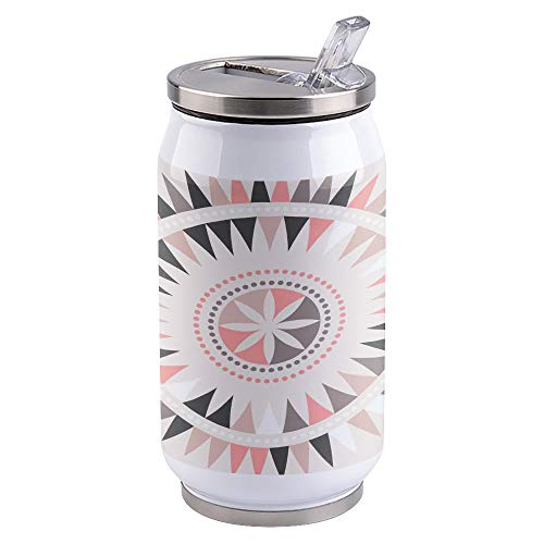 10 oz Vacuum Insulated Stainless Steel Tumblers with Lid and Straw Triangle Mandala Lotus Double Wall Tumbler Reusable Cups Travel Mug for Sports Camping Driving School, Abstract Tribal Floral