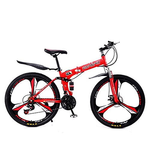 XHJJ Bicicleta Plegable Bicicleta Plegable 21-24 Velocidades Acero Al Carbono Ruedas De 24-26 Pulgadas Fácil con Freno De Disco,Portaequipajes Trasero,Guardabarros Delantero Y Trasero