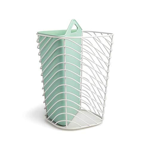 Metalen holle vuilnisemmer droog en natte opslag container oud papier vat 26 16 cm × 12 cm (kleur: blauw)