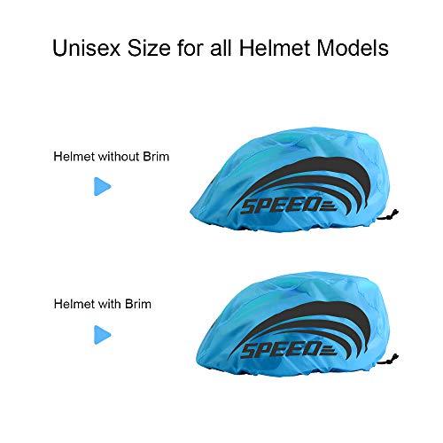 LAMA 2 Stück Fahrradhelm Regenüberzug Wasserdichter Helmüberzug Unisex Regenschutz Regenhülle Helmschutz Regenabdeckung Regenhaube Mütze für Herren Damen Kinder - 6
