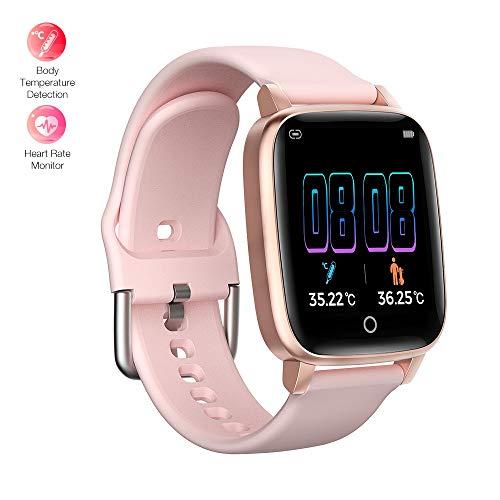 BingoFit Smart Watch, Fitness Trackers HR Smartwatch met Body Temperature Monitor, Waterdichte Gezondheid Activiteit Trackers Sport Polshorloge met Slaapmonitor Stappenteller Stap Calorie Counter voor Mannen Vrouwen, Roze-Smart Horloge